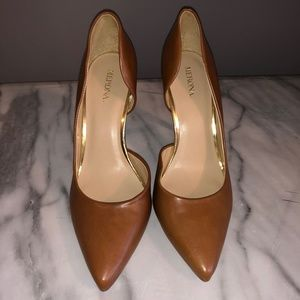 Brown Faux Leather Pumps